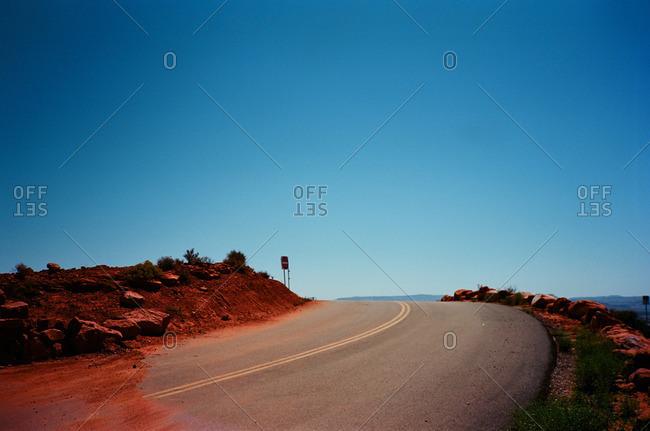 Empty highway in a red desert