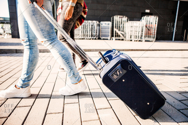 Young women with luggage in Malmo, Sweden