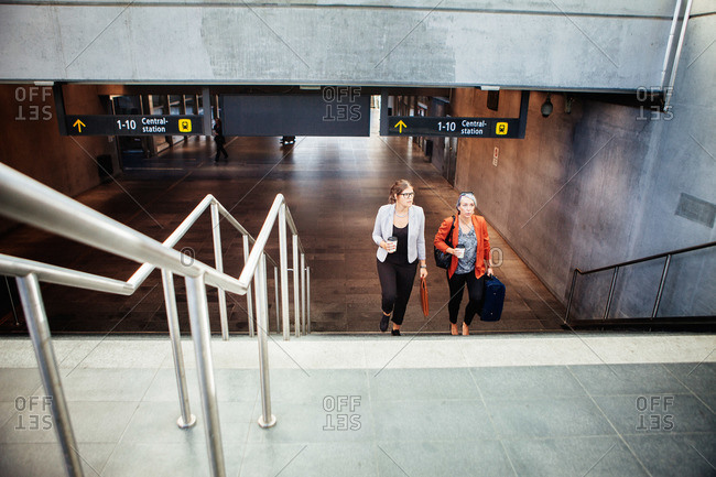 Young women at Malmo Central Station in Sweden