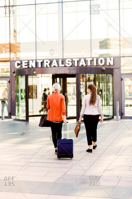 Business women entering Malmo Central Station in Sweden