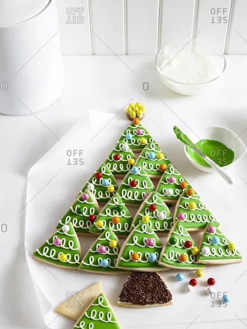 Triangle cookies in the shape of a Christmas tree