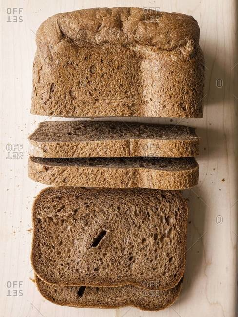Loaf of Russian black bread cut into slices