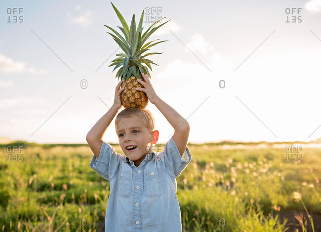 Young boy standing in field while holding pineapple on his head