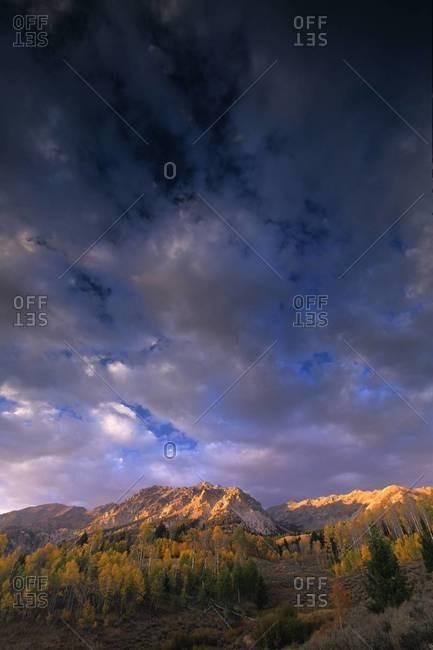 Autumn sunset over Boulder Mountains in Idaho