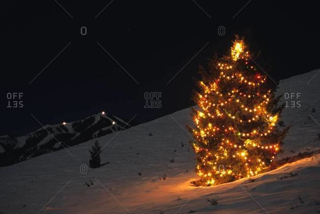 Baldy Mountain and Christmas tree at night in Sun Valley, Idaho