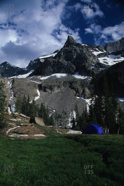 Kane Lake and tent in the Pioneer Mountains, Idaho