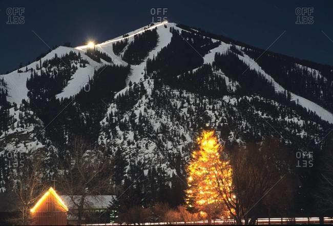 Baldy Mountain at night in Sun Valley, Idaho