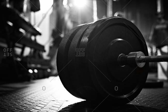 Close-up of weights on a barbell