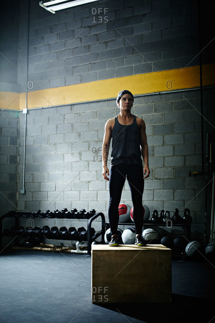 Portrait of a woman in a crossfit gym
