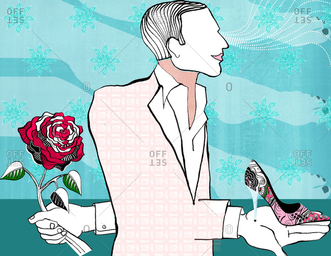 Faceless man holding rose and high heeled shoe