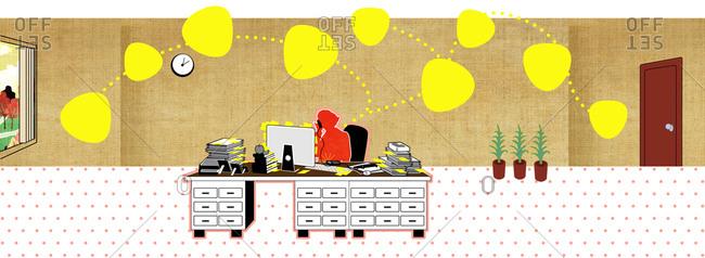 Woman multitasking behind a desk
