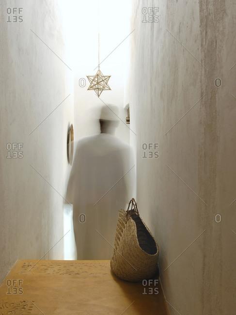 Shela, Lamu island, Kenya - Man in a Kijani house hotel hallway