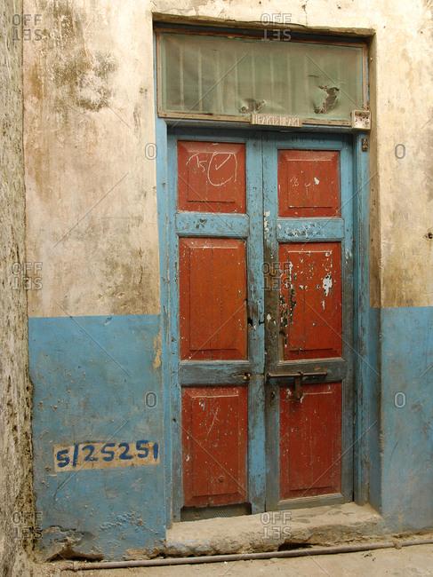 Lamu village doorway on Lamu island in Kenya