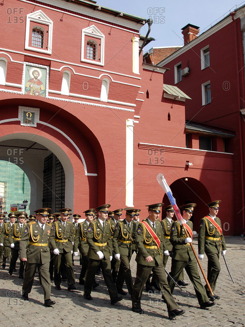 May 19, 2007: Moscow, Russia - Soldiers marching through Resurrection Gate