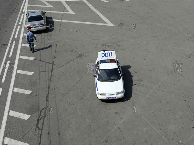 May 19, 2007: Moscow, Russia - Police officer and police car