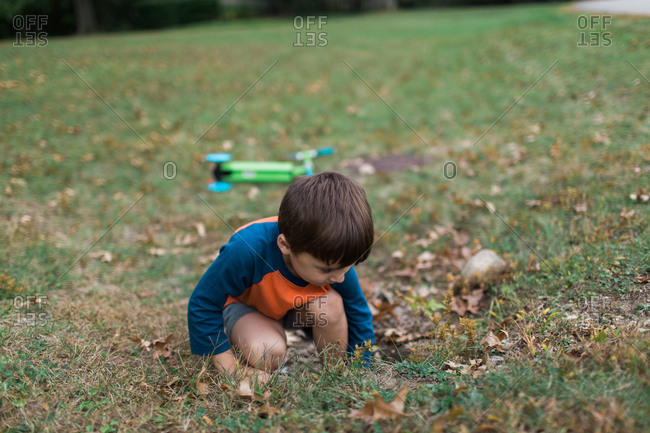 Young boy playing in grass