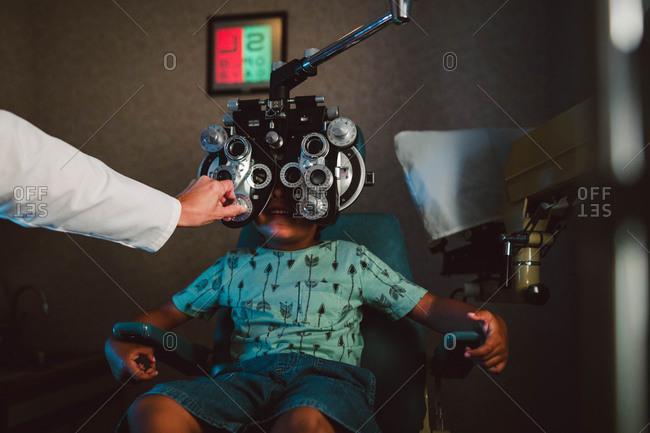 Little boy having eye exam
