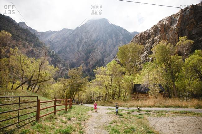 Two girls in mountain farmland