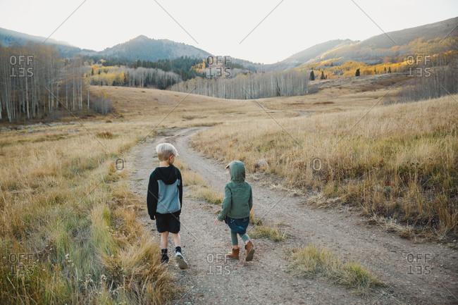 Boy and girl walking down tracks in mountain setting