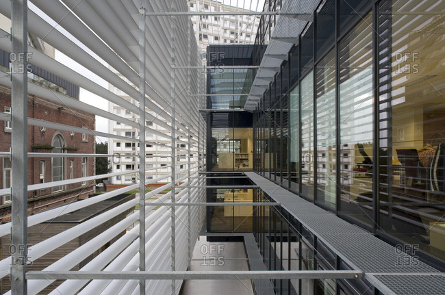 Ghent, Belgium March 1, 2007: View between sun blinds and fa�ade of modern office building