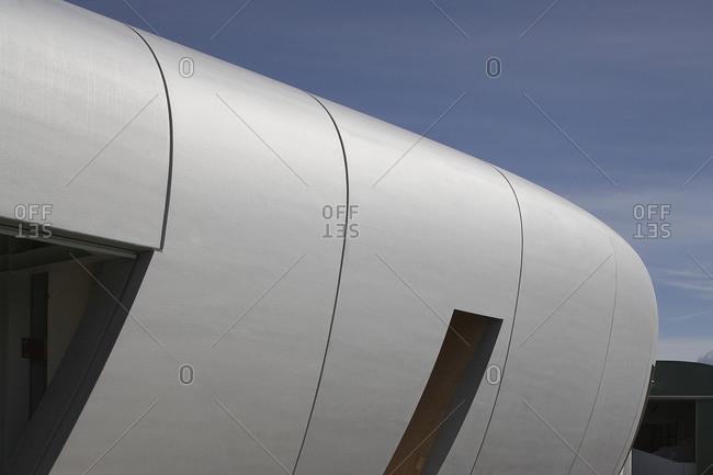 Kruibeke, Belgium - September 8, 2008: Close-up of a curving lobe of a contemporary building exterior