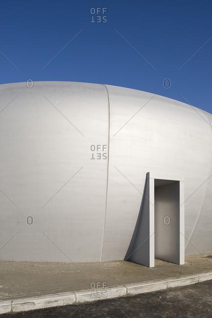 Kruibeke, Belgium - December 3, 2008: Doorway into a pod-shaped building
