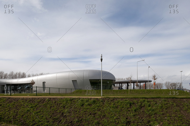 Kruibeke, Belgium - March 19, 2009: Organic shaped service station on a highway in Belgium