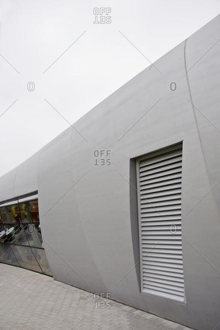 Kruibeke, Belgium - April 16, 2009: Curving exterior walls and windows on modern service station