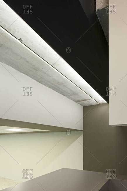 Abstracted view of modern architectural details inside building