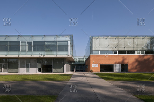 Ghent, Belgium - October 3, 2011: Exterior view of two parallel modern office buildings