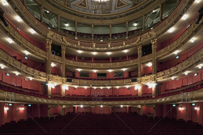 Ghent, Belgium - December 13, 2011: Interior of the Opera Ghent theater in Ghent, Belgium
