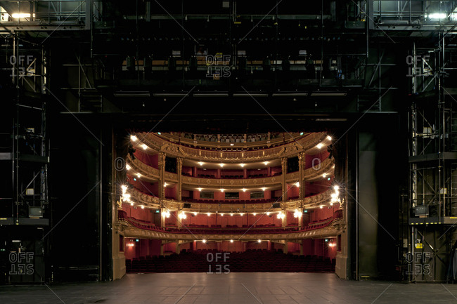 Ghent, Belgium - December 13, 2011: Backstage view of the audience seating at Opera Ghent
