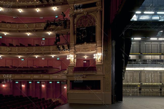 Ghent, Belgium - December 13, 2011: Opera Ghent onstage box seating