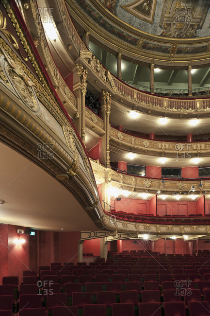 Ghent, Belgium - December 13, 2011: Looking up from ground floor in the theater seating of Opera Ghent