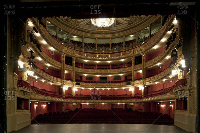 Ghent, Belgium - December 13, 2011: Stage view of the audience seating at the Opera Ghent