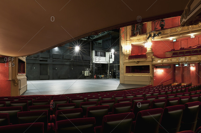 Ghent, Belgium - December 13, 2011: View from orchestra level of stage and audience seating in Opera Ghent