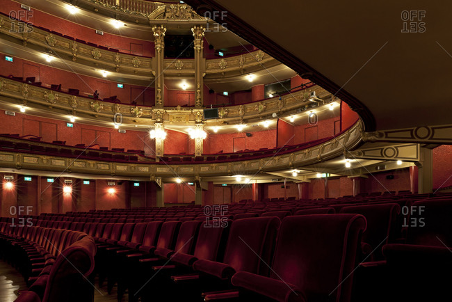 Ghent, Belgium - December 13, 2011: View of seating and levels in Opera Ghent