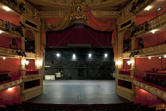 Ghent, Belgium - December 13, 2011: View of stage from second level of Opera Ghent