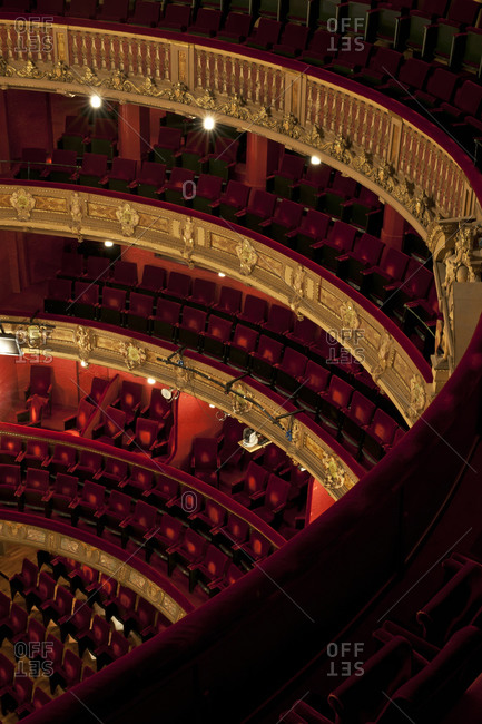 Ghent, Belgium - December 13, 2011: Upper tier view of audience seating in Opera Ghent