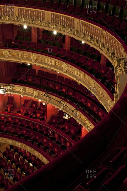 Ghent, Belgium - December 13, 2011: Upper tier view of audience seating in Opera Ghent