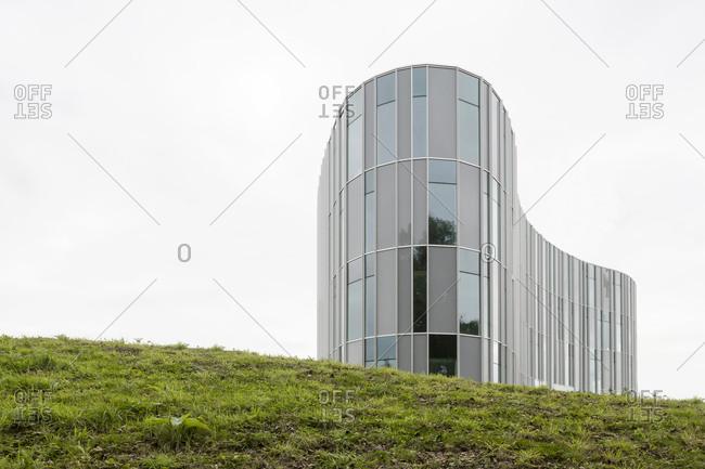 Ghent, Belgium - September 26, 2014: Organic-shaped modern building on hillside