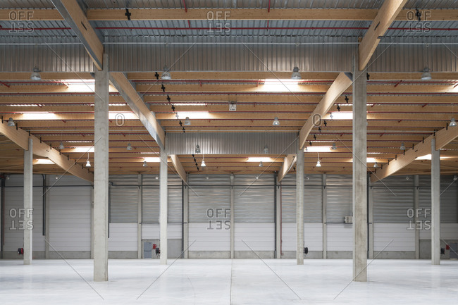 Interior warehouse space with wood beams