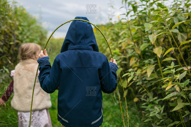 Boy and girl walking through a field of flowers