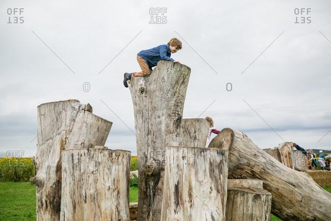 Children climbing on giant logs