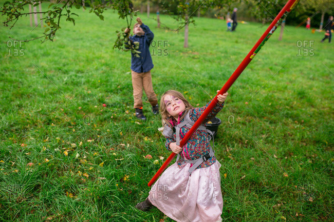 Girl picking apples with a fruit picker
