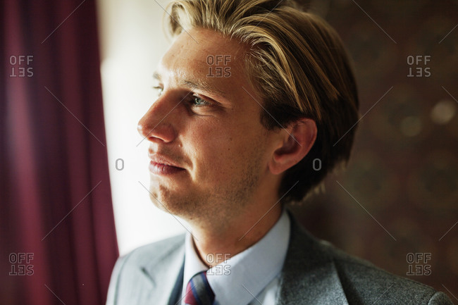Portrait of a businessman gazing out window in thought
