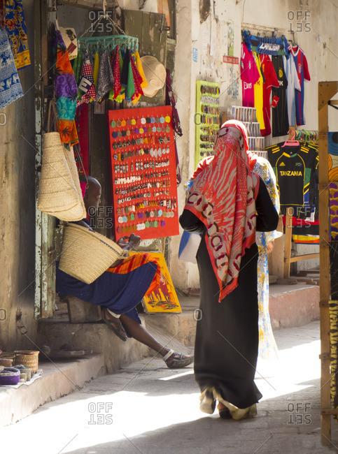Zanzibar, Tanzania, Africa - March 11, 2015: Streetscene, Stone Town, Zanzibar, Tanzania, East Africa, Africa
