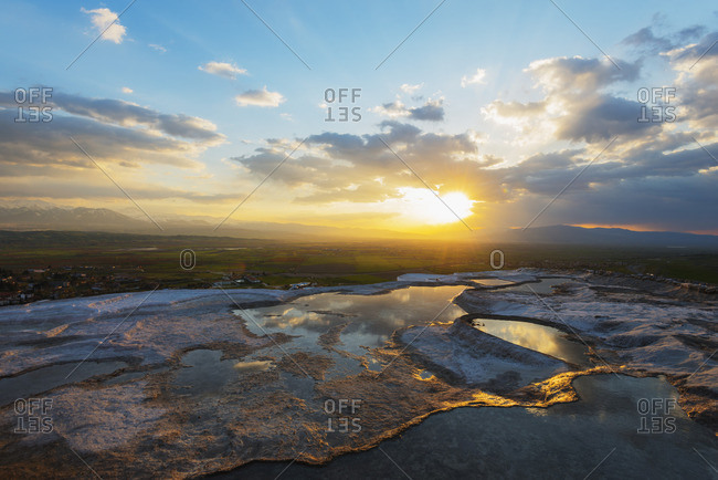 White travertine basins at sunset, Pamukkale, UNESCO World Heritage Site, Anatolia, Turkey, Asia Minor, Eurasia