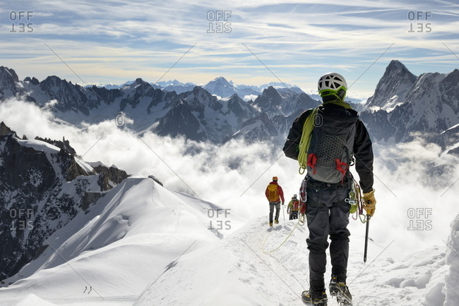 June 22, 2015: Mountaineers and climbers, Aiguille du Midi, Mont Blanc Massif, Chamonix, French Alps, Haute Savoie, France