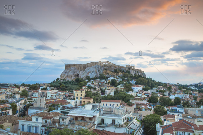 View of Plaka and The Acropolis at sunset, Athens, Greece